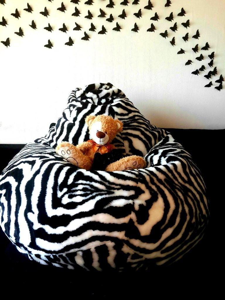 Крісло-мішок груша Зебра 120*90 см з штучного хутра