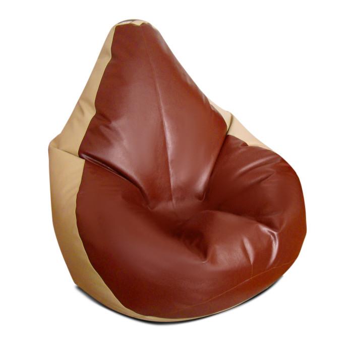 Большое кресло-мешок груша кофе с молоком 140*100 см из кож зама Зевс