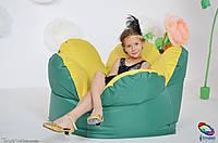Бескаркасное кресло мешок Цветок желто-зеленый из ткани Оксфорд, фото 1