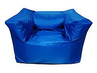 Большое бескаркасное кресло синее, ТВ кресло из ткани Оксфорд