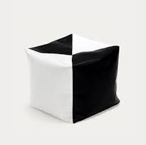 Черно-белый пуфик кубик 35*35*35 см из кож зама Зевс
