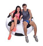 Кресло-мяч 130 см из кожзаа Зевс черно-белое, кресло-мешок мяч, фото 2