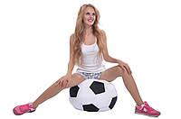 Кресло-мяч 50 см из кожзама Зевс черно-белое, кресло-мешок мяч, фото 1