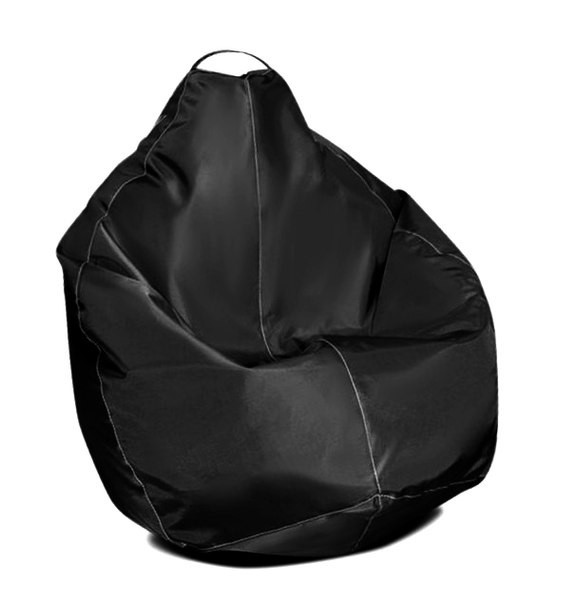 Желтое кресло-мешок груша 100*75 см из ткани Оксфорд S-100*75 см, Черный