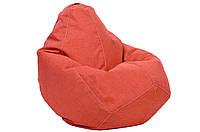 Коралловое кресло-мешок груша 100*75 см из микро-рогожки S-100*75 см, коралловый