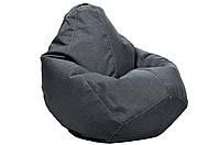 Коралловое кресло-мешок груша 100*75 см из микро-рогожки S-100*75 см, темно-серый