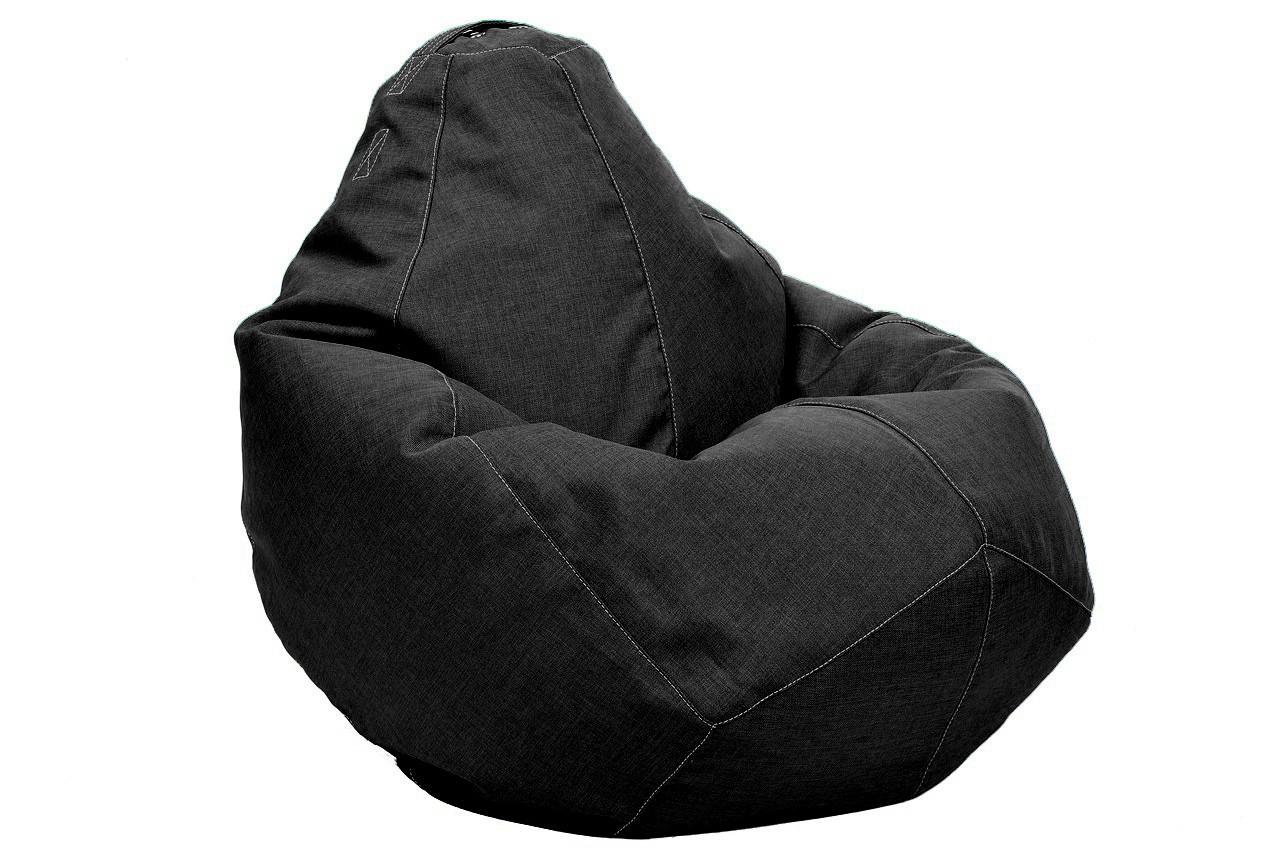 Блідо-бузкове крісло-мішок груша 100*75 см з мікро-рогожки S-100*75 см, чорний