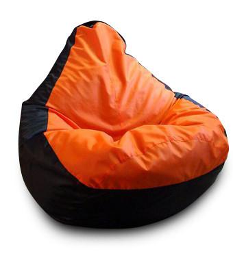 Черное с красным кресло-мешок груша 120*90 см из ткани Оксфорд черно-оранжевое