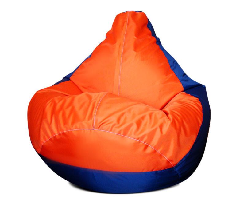 Черное с красным кресло-мешок груша 120*90 см из ткани Оксфорд сине-оранжевое