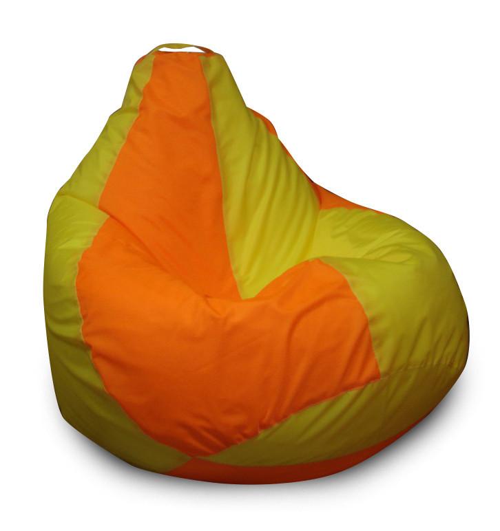Оранжево-зеленое кресло-мешок груша 120*90 см из ткани Оксфорд желто-оранжевое