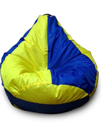 Оранжево-зеленое кресло-мешок груша 120*90 см из ткани Оксфорд сине-желтое