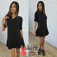 Женское модное платье-трапеция со складками (4 цвета)