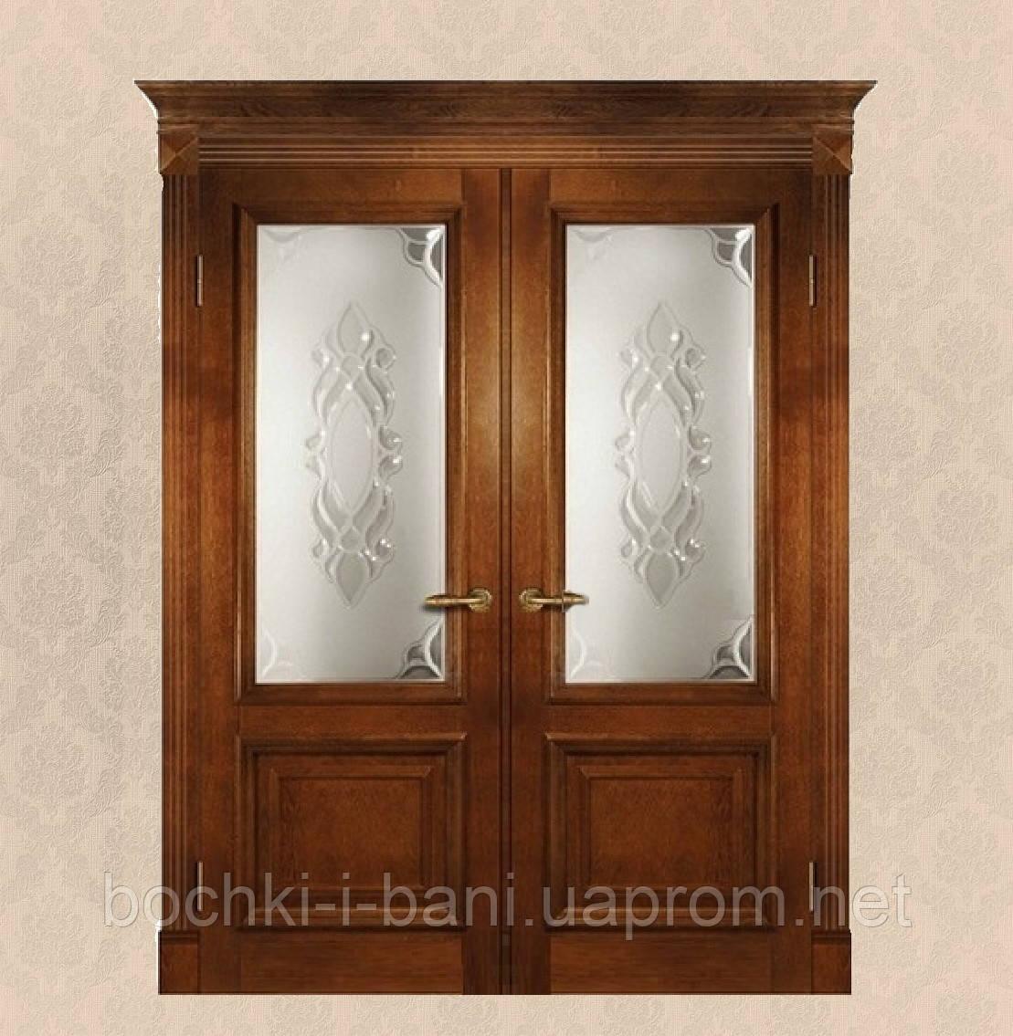Двери двойные распашные из массива дуба