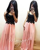 Комбинированное платье с бусинами и шифоновой юбкой