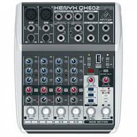 Микшерный пульт Behringer XENYXQX602MP3 2 моно+2 стерео брит.EQ, 24 бит FX MP3 плеер (BE-0800)