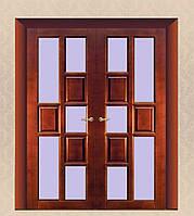Двери из массива дуба двупольные