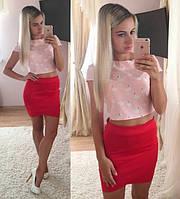 Костюм топ с принтом фламинго+бандажная юбка