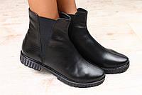 Демисезонные кожаные женские ботинки на низком ходу