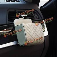 Микрофибра кожа клетчатый aquare автомобиля вентиляционное отверстие висит сумка для хранения аксессуаров для смартфон