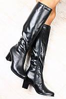 Сапоги стильны кожаные на не высоком каблуке