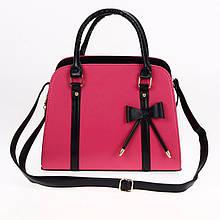 Жіноча шкіряна сумка з короткими ручками. Сумка з бантиком. Відмінна якість