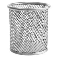Стаканчик для ручек металлический круглый серебряный