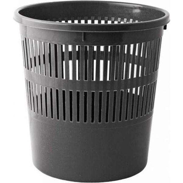 Корзина для бумаги пластиковая офисная, черная 8 л.
