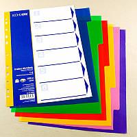 Разделитель страниц цветной Economix 6 разделов, пластик