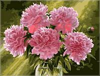 Картина по номерам Розовые пионы в вазе mg1119 40*50 см
