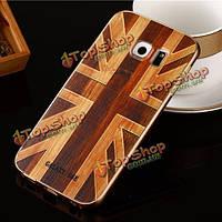 Деревянный шаблон жесткий задний корпус золотой сплав рама для защитной оболочки Samsung Galaxy S6 Edge