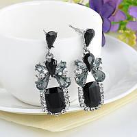 Серьги подвески классические с чёрным камнем кристаллом
