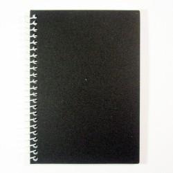 Блокнот А6 на боковой спирали, пластиковая обложка черный