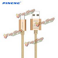 Pineng 100см нейлон ткачество Micro-USB зарядка кабель даты для мобильного телефона