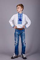 Вышиванка для мальчика с оригинальным орнаментом синяя