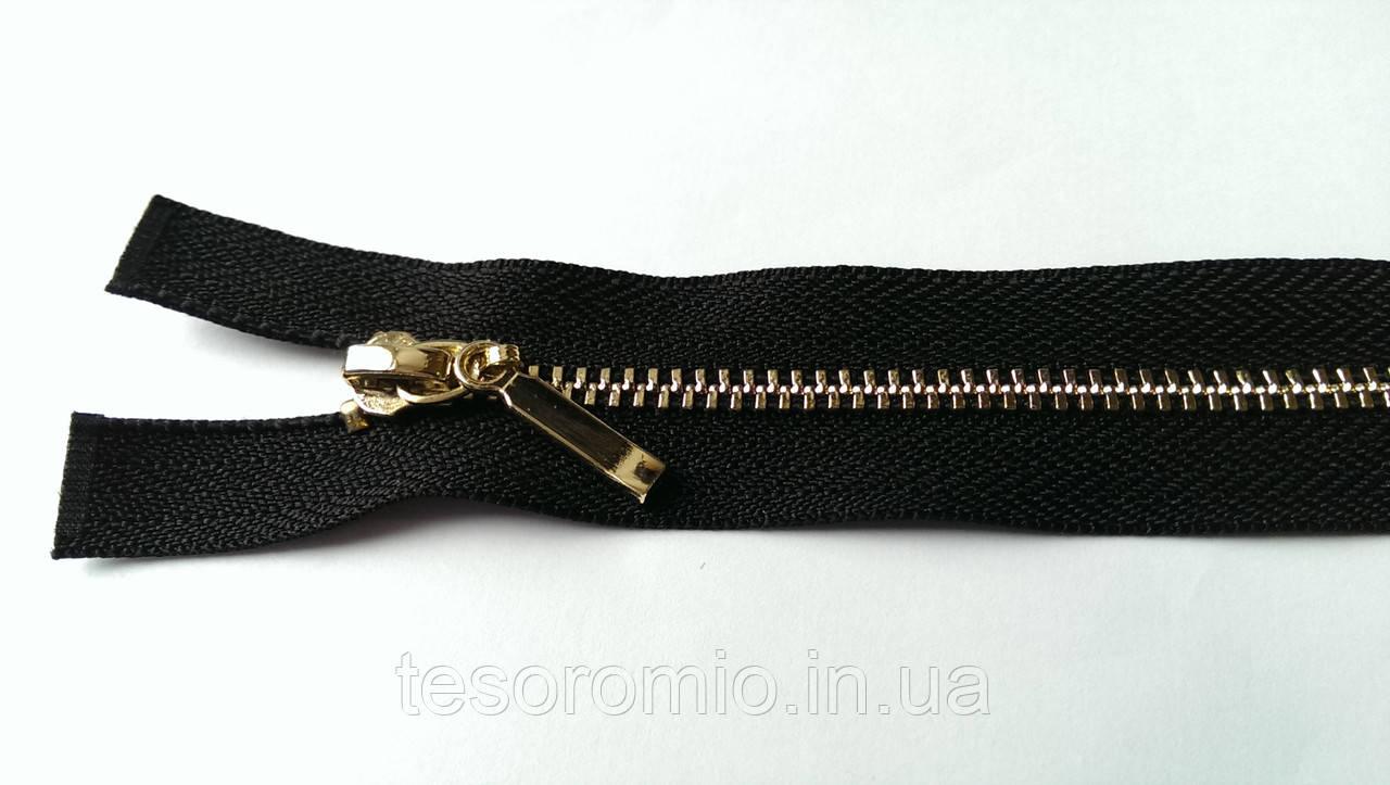 Молния металлическая разъемная черная полировка Т-3, 80 см 2 бегунка золото