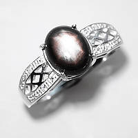 Кольцо с натуральным ЧЕРНЫМ ЗВЕЗДЧАТЫМ (ЗВЕЗДНЫМ)  САПФИРОМ