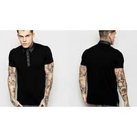 Поло мужской черный Вставка рубашка футболка