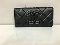 """Кошелек женский кожаный стильный черный """"Chanel ромбы"""""""