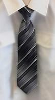 Детский галстук с зажимом серый в полоску