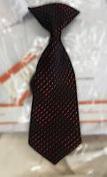 Детский галстук с зажимом черно-красный