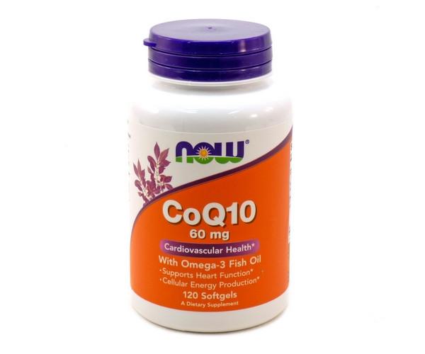 Витамины NOW Foods CoQ10 60 mg with Omega-3 120 гелевых капсул