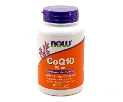 Витамины NOW Foods CoQ10 60 mg with Omega-3 120 гелевых капсул, фото 2