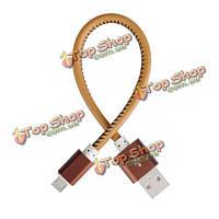 Универсальный Micro-USB материал кожа 2.1a 20 см 0.66ft зарядка кабель для Xiaomi Samsung Huawei Doogee