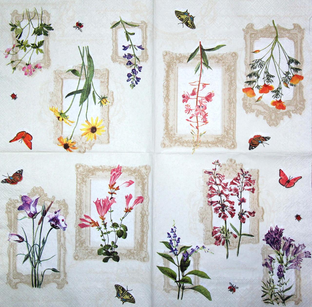 Декупажная салфетка Разные цветочки 844