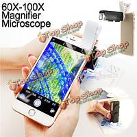 Универсальный 60x-100x Zoom телефон LED цифровая камера микроскопа объектив лупой лупой