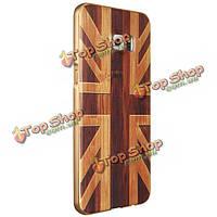 Деревянный шаблон жесткий задний корпус золотой сплав рама для защитной оболочки Samsung Galaxy S6 Edge+