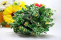 Декоративные ветки зелёные в золоте 6 штук