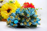 Декоративные ветки голубые в золоте 6 штук