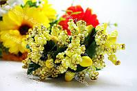 Декоративные ветки желтые в золоте 6 штук