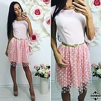Платье с шёлковой юбкой с поясом